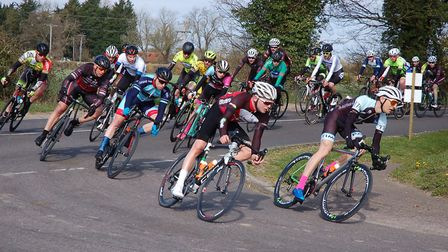 Third and fourth-cat riders take a corner in the DAP CC Road Races. Picture: JOHN SWANBURY