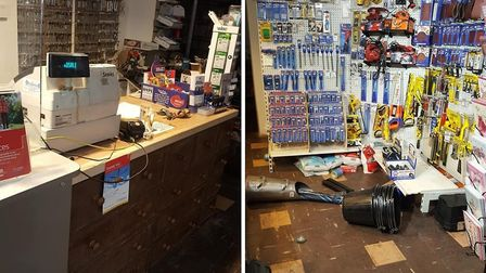 Shop owners Jenny and Peter Lewis came downstairs to find five charity boxes stolen from the till ar