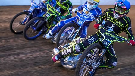 From the inside, David Bellego, Erik Riss, Chris Harris and Robert Lambert hit the first turn in the