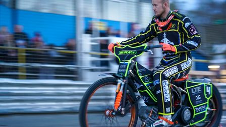 Krystian Pieszczek on the pre-meeting parade ahead of the Ipswich v King's Lynn meeting. Picture: