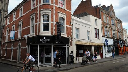 The corner of St Botholph's Street and St Botolph's Church Walk in Colchester town centre. The borou