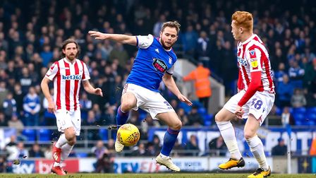 Alan Judge looks for a way past Ryan Woods in the first half of the clash with Stoke. Picture: ST
