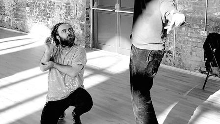 Theatre-maker Murray Lachlan Young rehearsing with fellow actor Joe Allen for their family-friendly