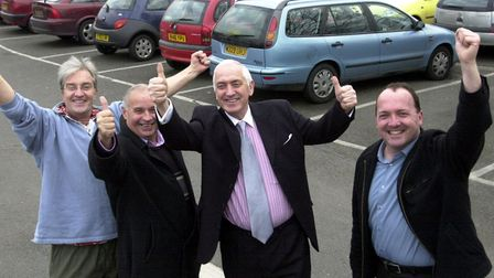 Nick Irwin, Richard Kemp, Albert Pearce and Nigel Bennett celebrate potential parking charges in Sud