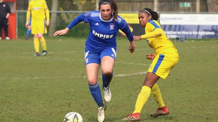 Town midfielder Ciera Flatt on the ball during the first half Picture: ROSS HALLS