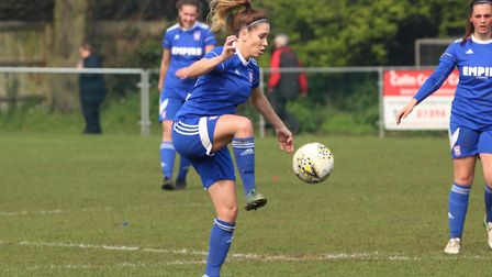 Town winger Amy Nash controls the ball Picture: ROSS HALLS