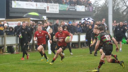 Brock Price on the way to scoring Colchester's opening try in their win over Fullerians. Picture: PI