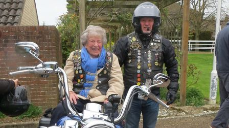 Jean Wood took a ride on a Harley Davidson Picture: STOWMARKET FREEMASONS