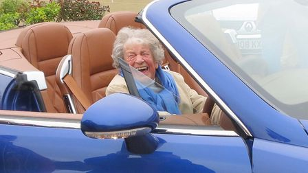 Jean Wood also enjoyed sitting in a Bentley convertible Picture: STOWMARKET FREEMASONS