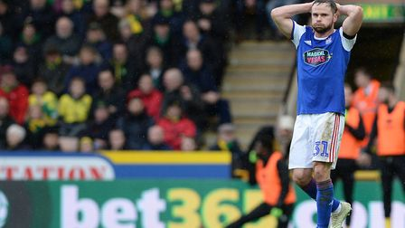 Alan Judge holds his head after a missed first half chance against Norwich. Photo: Pagepix
