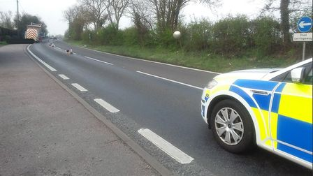 The A140 near Coddenham has a lane blocked by a broken down HGV. Picture: NSRAPT