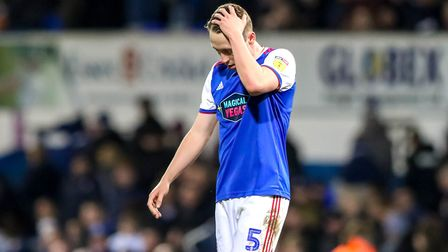 Matthew Pennington after the final whistle in the 3-2 defeat ti Millwall. Picture: STEVE WALLER