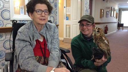 People have a hoot of a time after being visited by the owls from the Suffolk Owl Sanctuary. Picture