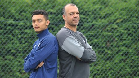 Ipswich Town player Andre Dozzell with is dad Jason. Photot: Sarah Lucy Brown