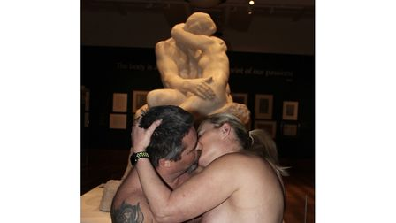 Members of British Naturists recreate The Kiss at Christchurch Mansion Picture: SUBMITTED