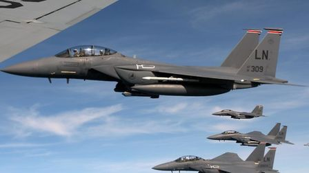 U.S. Air Force F-15E Strike Eagles assigned to the 494th Fighter Squadron at RAF Lakenheath, England