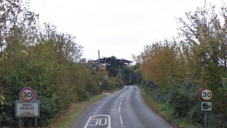 The collision between a car and cyclist happened about 7.50am on the B1061, close to Great Bradley,