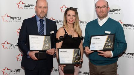 External Fundraiser of the Year winner Simon Jay (right) with nominees Peter Dawes (left) and Emma H