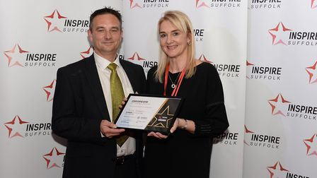Extra Mile winner, Rachel Reddington, with Andy Perrin of Hemisphere Freight Picture: WARREN PAGE