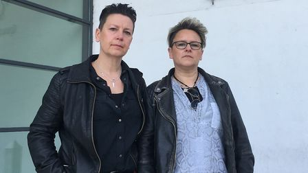 Liz Cummins (left) and Kelly Cameron outside Ipswich Crown Court following the sentencing of Mark Ev