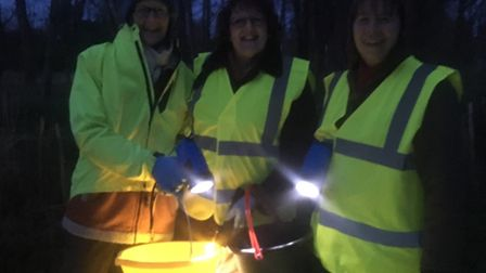 Yes, night has fallen Lorna, Lynne and Sylvie are ready to go. Picture: Marian Donegan