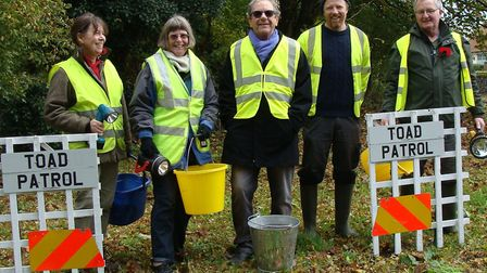 Toad patrollers (l-r) Sylvie Fitch, Frances Bee, Ian Cassidy (site patrol manager at Stowlangtoft),