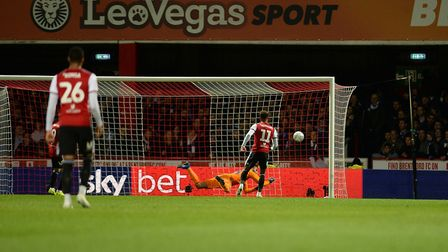 Ollie Watkins scores the second goal for Brentford Picture Pagepix