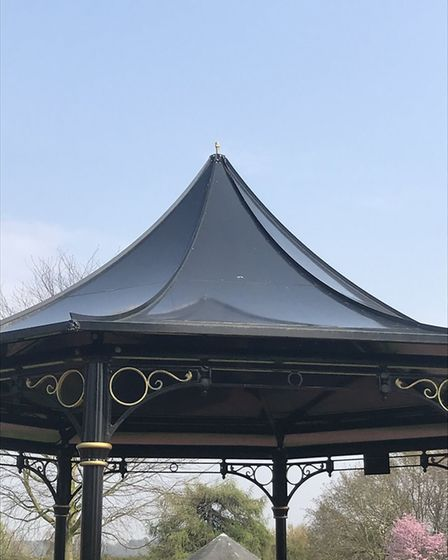 Vandals have ripped the crown from the park's bandstand Picture: WOODBRIDGE TOWN COUNCIL