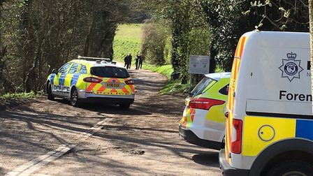 Forensic vehicles were at the scene and a wide cordon was in place to allow the police to carry out