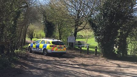 Three police cars were in attendance at the scene in Corks Lane, Hadleigh Picture: CHARLOTTE SMITH-J