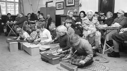 Horning county primary schoolchildren music get together at the village hall in December 1967.