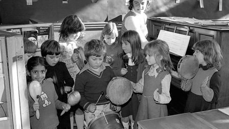 Pupils enjoying a music lesson at St Helen's School, Ipswich, in November 1977. Picture: JERRY TURNE