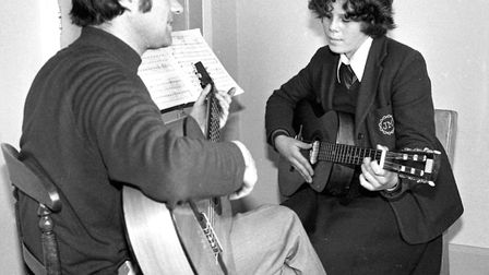 A music lesson at The School of Jesus and Mary, Ipswich, in 1977. Picture: JERRY TURNER