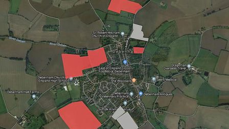 Sites in red have been designated as unsuitable while the grey sites have been earmarked as eligible