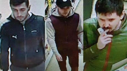 Police wish to speak to these three men in connection to a theft and assault in Haverhill on Februar