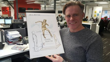 Sculptor Sean Hedges-Quinn with his design for the Kevin Beattie statue Picture: