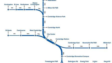 Early proposals for the metro network stretching to Mildenhall and Haverhill Picture: CAMBRIDGESHIRE
