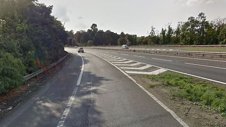 The incident happened on the on-slip road at junction 43 of the A14 near Bury St Edmunds Picture: GO