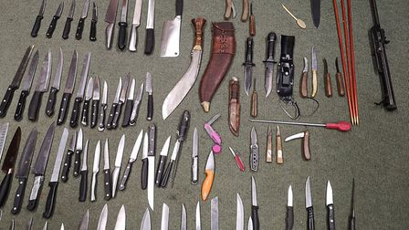 A week's worth of knives from the Mildenhall Police knife amnesty bin. Some sharp objects deposited