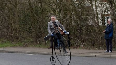 Bill Ives on his penny farthing Picture: JO SWEETMAN