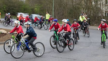 Children took part in the cycle past Picture: JO SWEETMAN