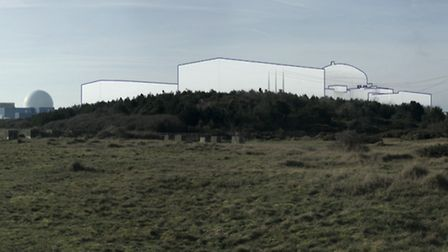 How Sizewell C would appear from the beach at Sizewell Picture: EDF ENERGY