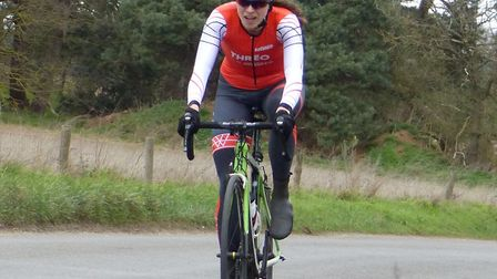 Women's winner Rosamund Bradbury sits high during the West Suffolk Wheelers time trial at Risby. Pic