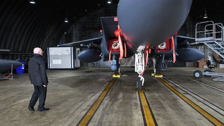Tony got a tour of the airbase and a chance to look at one of the F-15 Strike Eagles Picture: USAF/S