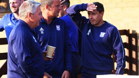 Klug, pictured with former Ipswich boss Paul Hurst and ex-midfielder Geraint Williams during pre-sea