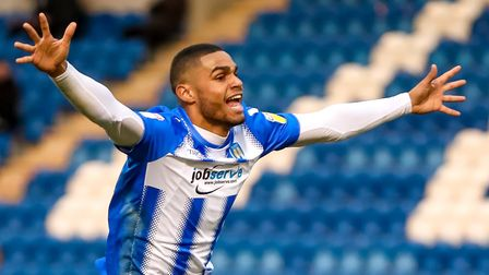 Mikael Mandron celebrates scoring the only goal of the game in the the 1-0 win over Macclesfield. P