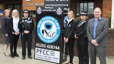 The Maldon knife amnesty bin was launched as part of an iniative with local charity Only Cowards Car