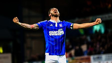 Injury time goal scorer Luke Chambers celebrates Town's victory over QPR on Boxing Day 2015. P