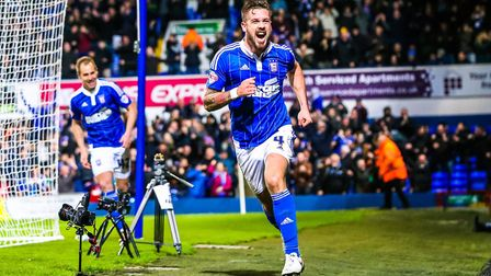 Luke Chambers celebrates his injury time winner as Town beat QPR 2-1 at Portman Road on Boxing Day i
