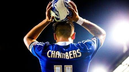 Luke Chambers about to take a throw-in during the Ipswich Town V Burnley match at Portman Road, Ipsw